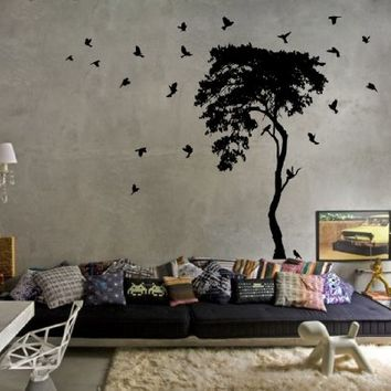 Ik10-wall Decal Sticker Room Decor Wall Art Mural Elegant Tree Birds Soar Trees Sky Dining Room Kitchen Bedroom Living Room Children