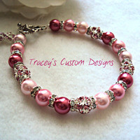 Beautiful Women's Breast Cancer Awareness Bracelet - Custom sizing available.