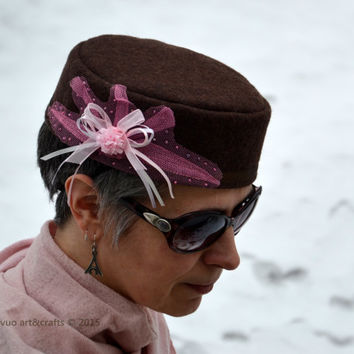 Pillbox hat Brown wool fabric Pink and white ribbon, tulle and beads embellishment Stylish womens hat