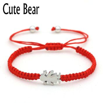 Cute Bear Brand Stainless Steel Little Girl Lucky Red Rope Brace 18fefd597b42