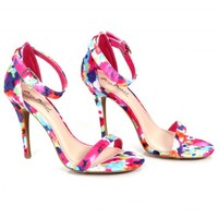 Dare You Fuchsia Floral Ankle Strap Heels | Monday Dress Boutique
