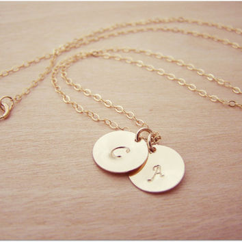 14k Gold Filled Two Initial Disc Hand Stamped Personalized Monogram Necklace / Gift for Her