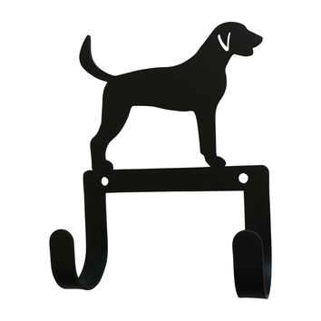 Wrought Iron Fox Hound Dog Leash & Collar Wall Hook