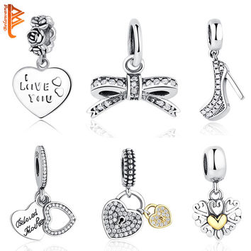Original Charms Fit Pandora Charm Bracelet Necklace Pendant 925 Sterling Silver Bow Love Heart European Charms Beads DIY Jewelry