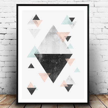 Triangles wall art, Geometric poster, Abstract print, Scandinavian Print, watercolor Wall Art, Triangle Art, pink turquoise, modern print