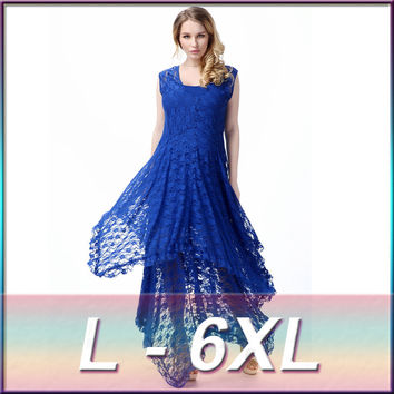 Plus Size Sexy Lace Dress 2017 New Arrival Women Elegant Irregular Sleeveless Hollow Out Two-piece Maxi Long Party Dress 6XL