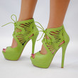 (anj) Laced cut out pistacchio green platform heels