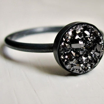 Black druzy ring  oxidized sterling silver by UntamedMenagerie