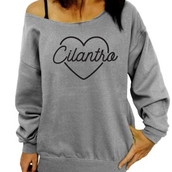 Cilantro Love, I Heart Cilantro, Womens Clothing, Slouchy Sweatshirt, Valentine's Day, Off the Shoulder, Sweater, Heart, Gift for her