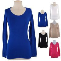 Women Solid Plain Basic Seamless Long Sleeve Scoop Neck Ribbed Bottom Tee Shirt