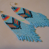 Native American Style two drop brickstitch earrings in Soft Blue