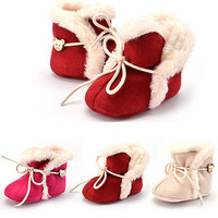 Winter Autumn 2016 Baby Toddler Girls Soft Sole Non-Slip Cowboy Boots Slippers Cotton Warm Shoes