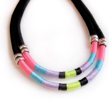 Wrapped rope Necklace Black cotton rope necklace neon tones unique style