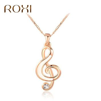 ROXI New Fashion Necklace Delicate Musical Note Pendant Necklace for Women Love Music Note Symbol Charm Choker bijoux femme