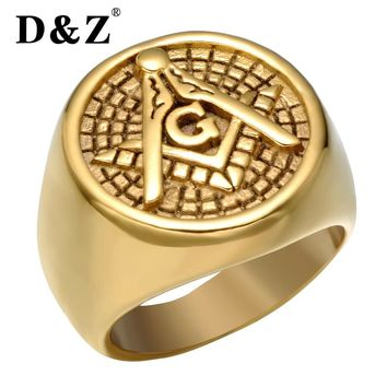 D&Z Vintage Gold Color Men Freemasonry Masonic Ring Casting Titanium Stainless Steel Masonic Rings for Men Jewelry Punk