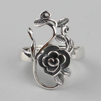 Vintage Real Pure 925 Sterling Silver Branches Rose Flowers Rings For Women Thai Silver Adjustable Elegant Jewelry Ring