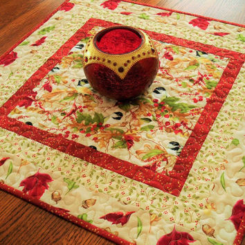 Christmas Table Topper, Quilted Table Topper, Chickadees, Birds and Berries, Winter Birds, Quilted Table Mat, Square Table Topper
