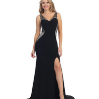 Black Sexy Sheer Beaded High Slit Sweetheart Dress 2015 Prom Dresses