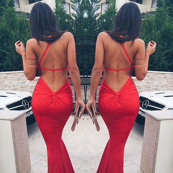 Red Half Shoulder Knot Backless Maxi Dress