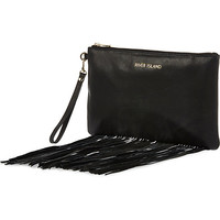 River Island Womens Black fringed leather clutch bag