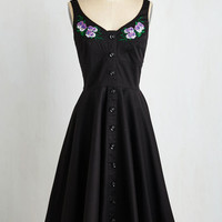 ModCloth Pinup Long Sleeveless Fit & Flare Blossom of Its Arts Dress