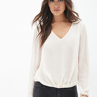 LOVE 21 Beaded V-Cut Blouse Cream