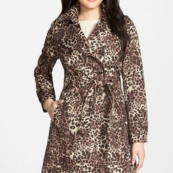 Women's Via Spiga Animal Print Double Breasted Trench Coat,