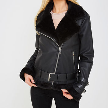 Women's Shearling Biker Jacket - Black