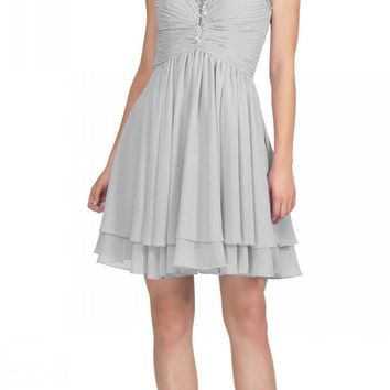 Silver Homecoming Short Dress Ruched Bodice