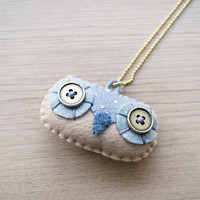 Felt Necklace - Owl necklace - Kawaii necklace - Felt accessories -  READY TO SHIP