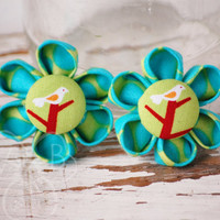 Tweet Tweet lime, blue, and birdy kanzashi flowers Dolly & Me set of 2 accessories