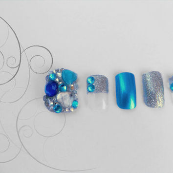 Blue Jewelled And Silver Sparkle 3D Japanese Kawaii Fake Nails