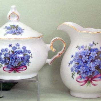 Blue Forget Me Nots Porcelain Cream and Sugar Set
