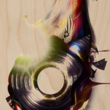 Abstract Dripping Mechanical Artwork - Plywood Wood Print Poster Wall Art