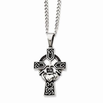 Stainless Steel Antiqued Claddagh Pendant Necklace