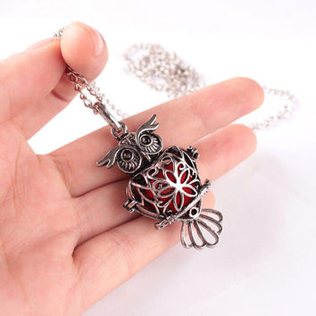 2016 New Owl Pendant Necklace Female Perfume Fragrance Necklace Locket Long Chain Necklace Woman Jewelry Bijoux Femme wn180