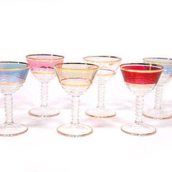 Colorful Vintage Sherry Glasses with Gold Trim, Set of 6