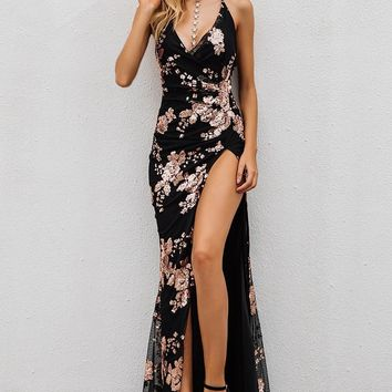 Gala Night Black and Rose Gold Sequin High Slit Maxi Dress