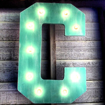 Letter Marquee Sign Custom Painted One Solid Color, Light Up, Kitchen, Bedroom, Nursery, Home Décor, Boutique, Wedding, Restaurant, Birthday