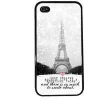 Snowing Paris Case / Marilyn Monroe Quote iPhone 4 Case Eiffel Tower iPhone 5 Case iPhone 4S Case iPhone 5S Case Audrey Hepburn Phone Case