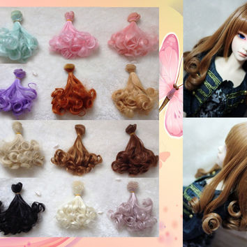 1pcs15cm&25cm Pear curly hair doll wigs DIY modified hot wire for 1/3 1/4 BJD SD