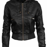 NE PEOPLE Women's Premium Fitted faux leather Zip Up Moto Jacket