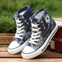 Hot Sale Women Men Shoes Casual Canvas Shoes Woman Fashion  Shoes Men High Top Flats Zapatos Mujer Chaussure Homme Black & Blue