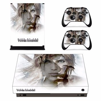 Tomb Raider Full Set Faceplates Skin Stickers for Xbox One X Console and Two Controller