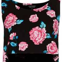 Rose Cropped Tank Top - Jersey Tops  - Clothing
