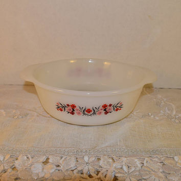 Fire King Primrose Casserole Dish Vintage Anchor Hocking 2 quart Baking Dish White Milk Glass Serving Bakeware Double Handles