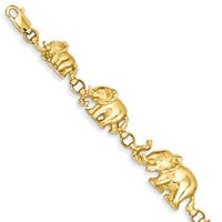 Elephant Bracelet in 14kt Yellow Gold - Lobster Claw - Captivating: Size: 7
