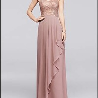 David's Bridal Rose Gold Bridesmaid Dress