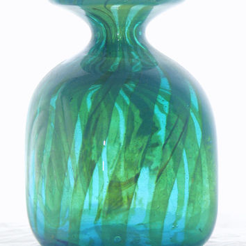 Mdina Seaweed Square Vase,  turquoise blue yellow green glass, Malta, chunky shape