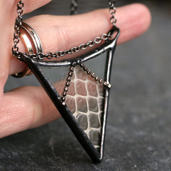 real snakeskin necklace arrow pendant chevron pendant statement necklace boho necklace steampunk stained glass taxidermy SNAKESKIN ARROW